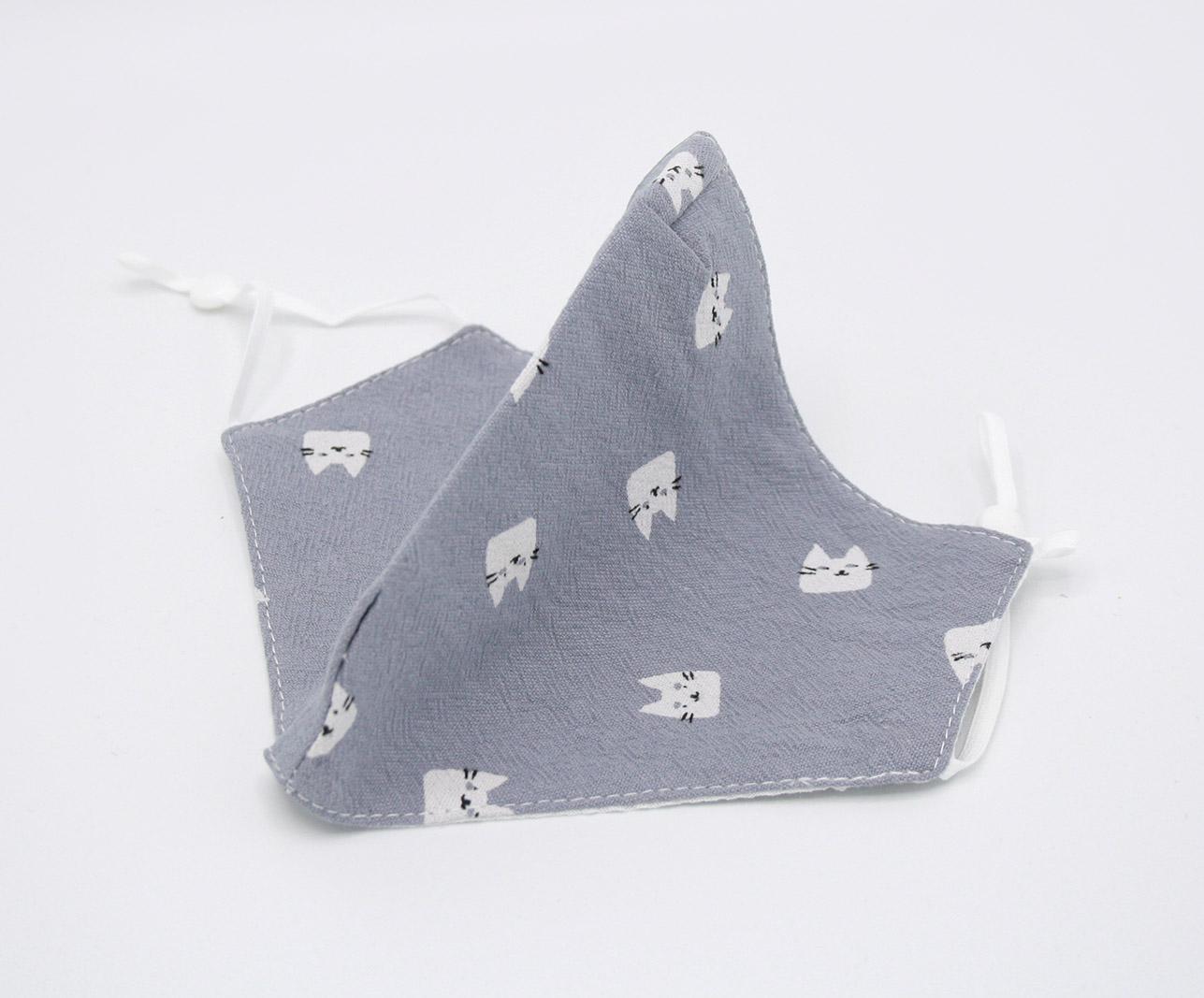 SEPIO Mondmaskertje mondkapje met opdruk poes katoen paars (6)