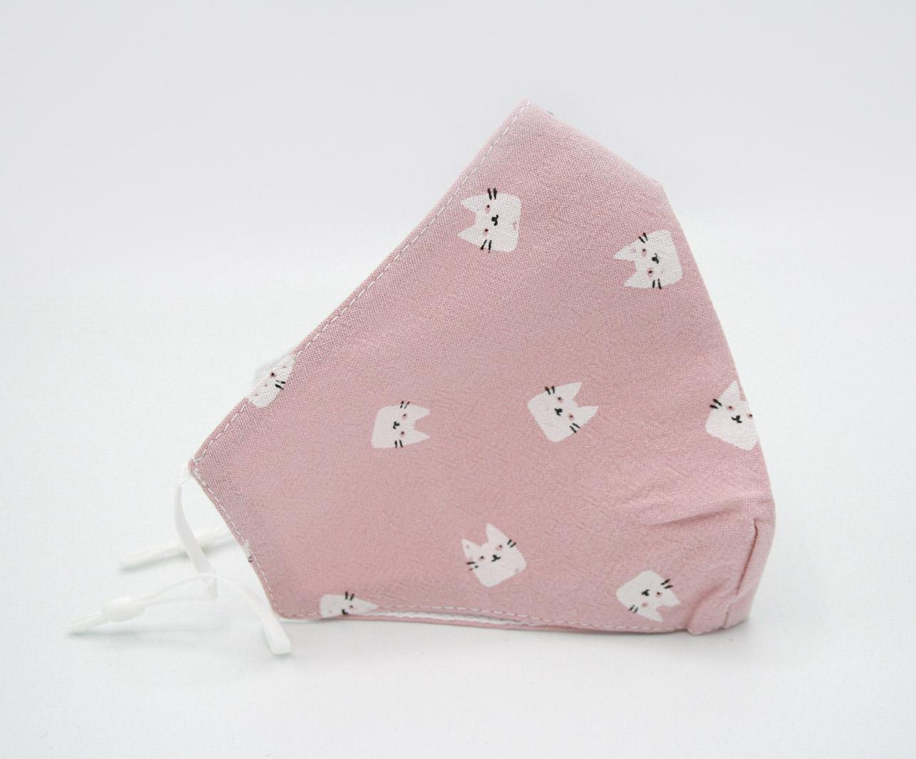 sepio mondmasker roze katoen poes opdruk (1)