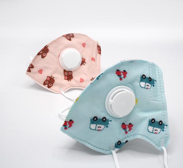 Mondmaskertje-voor-kinderen-met-ventiel-blauw-oranje