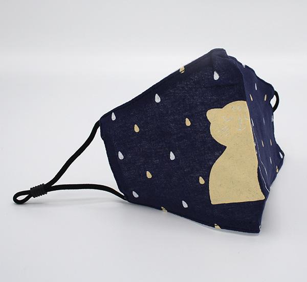 RUIYA Mondmasker voor kinderen katoen poes patroon blauw (4)