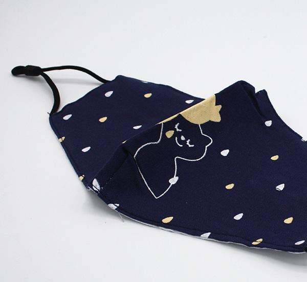 RUIYA Mondmasker voor kinderen katoen poes patroon blauw (9)