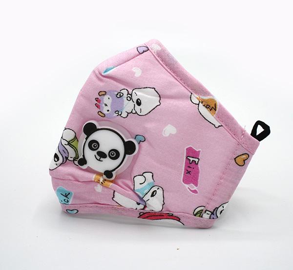 katoenen mondmasker voor kinderen met ventiel roze