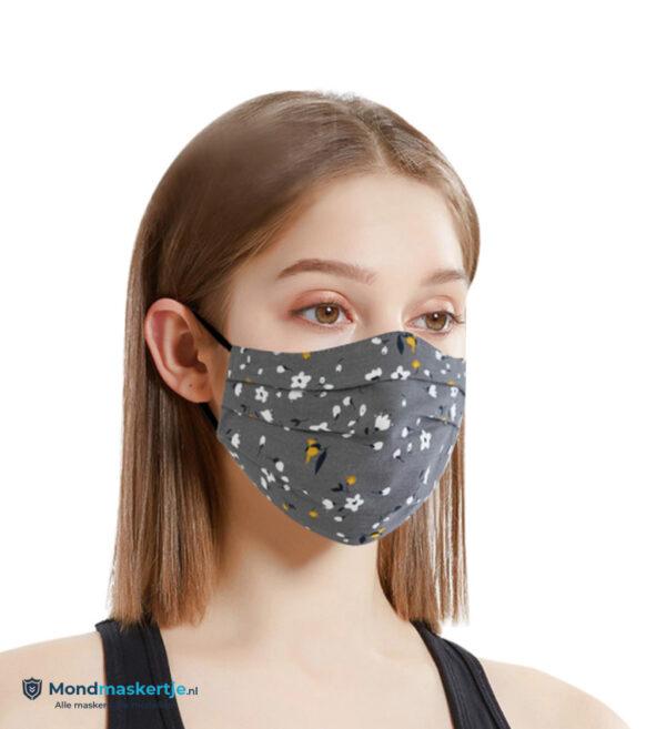Mondmasker vrouwen unisex met prent Grijs (3)