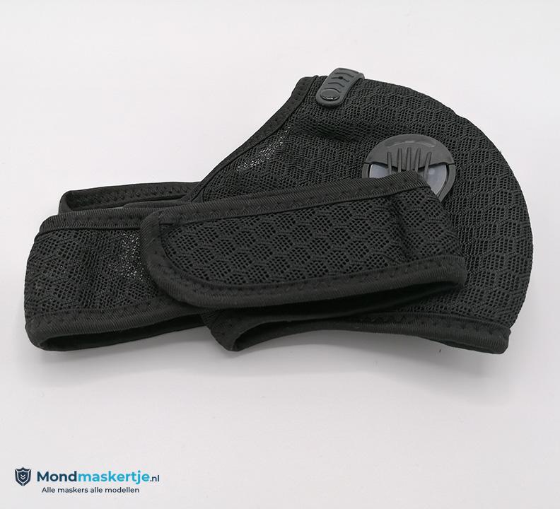 kn95 mondmasker zwart met ventiel en pm2.5 filter
