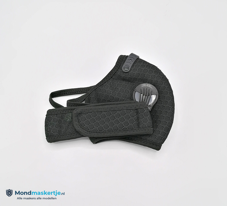 kn95 sportmasker zwart met ventiel en pm2.5 filter