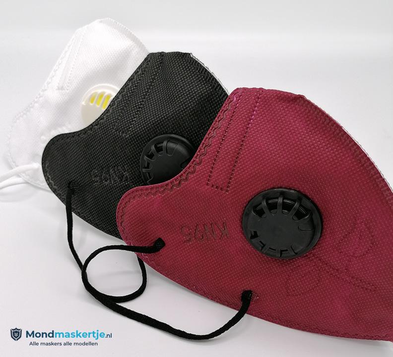 mondkapje kopen kn95 rood zwart ventiel